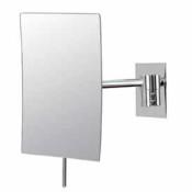 Minimalist rectangular 3X magnifying non-lighted wall mirror