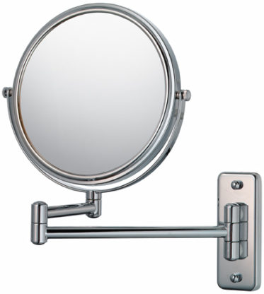 Double-sided round 5X/1X wall magnifying makeup mirror
