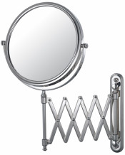 Round double-sided 5X/1X retro wall mirror with accordion extension