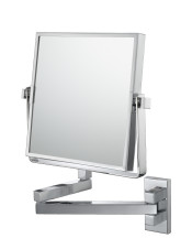 Square double-sided 3X/1X wall magnifying makeup mirror