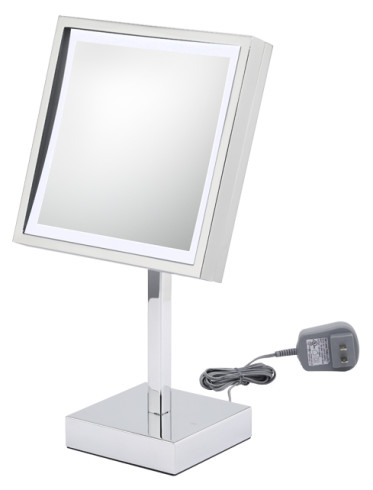 Square LED Lighted 3X magnifying freestanding mirror