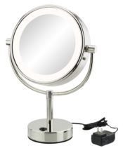 Double-sided 5X/1X LED lighted freestanding mirror