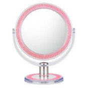 Pink bling double-sided 10X/1X freestanding mirror