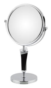 Double-sided 5X/1X freestanding mirror with black helix stem