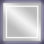 """Square 36""""x36"""" LED lighted vanity mirror with white wall glow"""