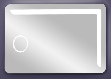 LED lighted vanity mirror with 3X magnifier surrounded by light
