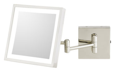 Square 3X magnifying LED lighted wall mirror with rechargeable battery