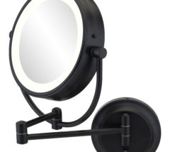 Round double-sided 5X/1X magnified mirror with switchable light color